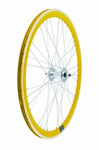 RMS Ruote Fixed su cuscinetti profilo 40mm giallo pista rettificata incrocio 9x4 Fixed wheels on bearings profile 40mm yellow machined braking surface 9x4 crossing de la marque RMS image 0 produit
